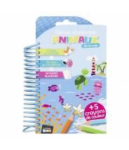 Carnet de coloriage + 5 crayons + autocollants