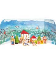 Calendrier de l'Avent Forêt d'hiver, figurines en bois de Noël