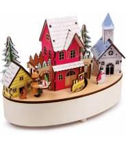 Boîte à musique lumineuse - village d'hiver