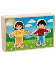 Puzzle à habiller - Garçon et fille en coffret bois Goki