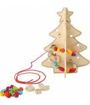 Sapin créatif à peindre et avec déco à enfiler, spécial Noël