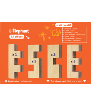 KIT CRÉATIF ÉLÉPHANT - CLOZE - JEU DE CONSTRUCTION EN BOIS