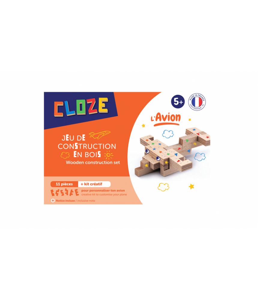 KIT CRÉATIF AVION - CLOZE - JEU DE CONSTRUCTION EN BOIS