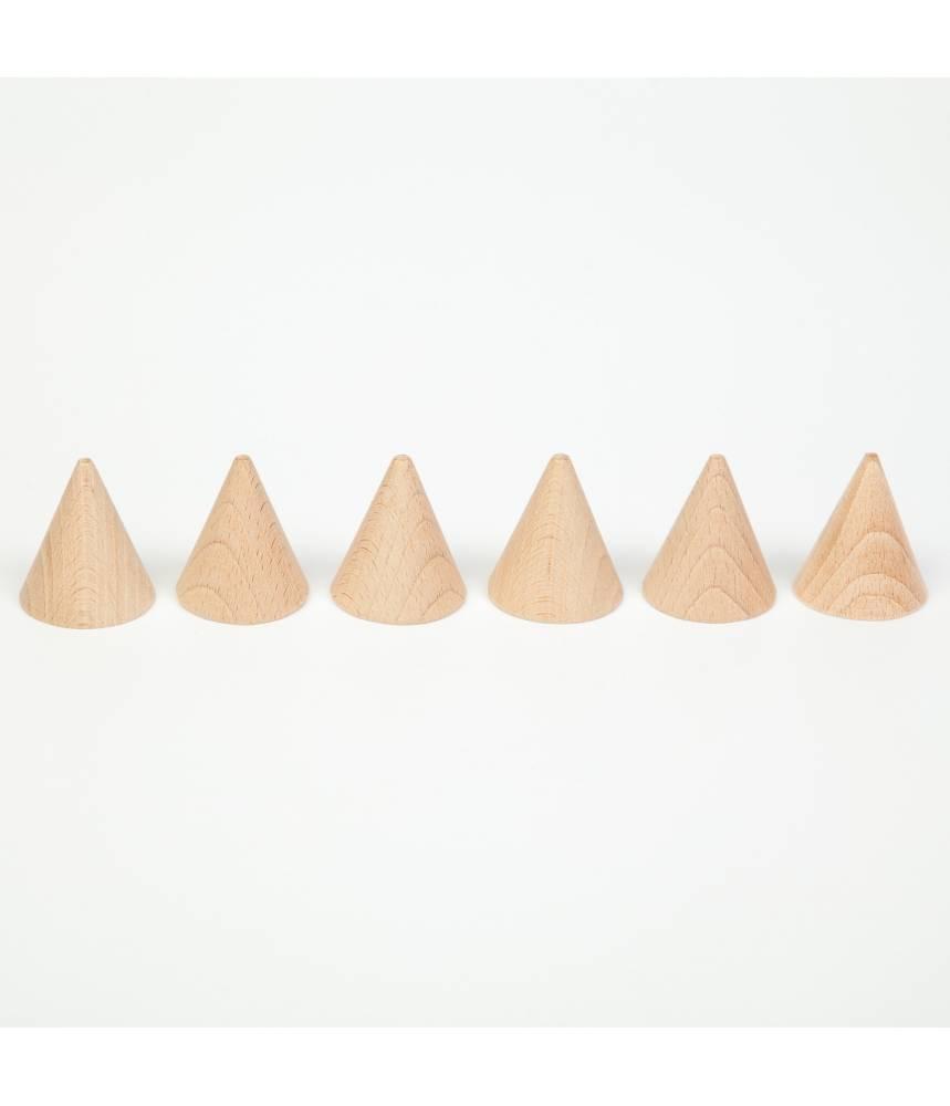 6 cônes en bois naturel - Grapat