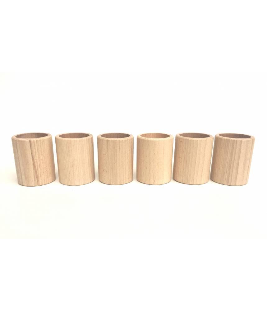 6 coupes cylindriques en bois naturel - Grapat