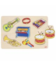 Puzzle à encastrements sonore, instruments de musique