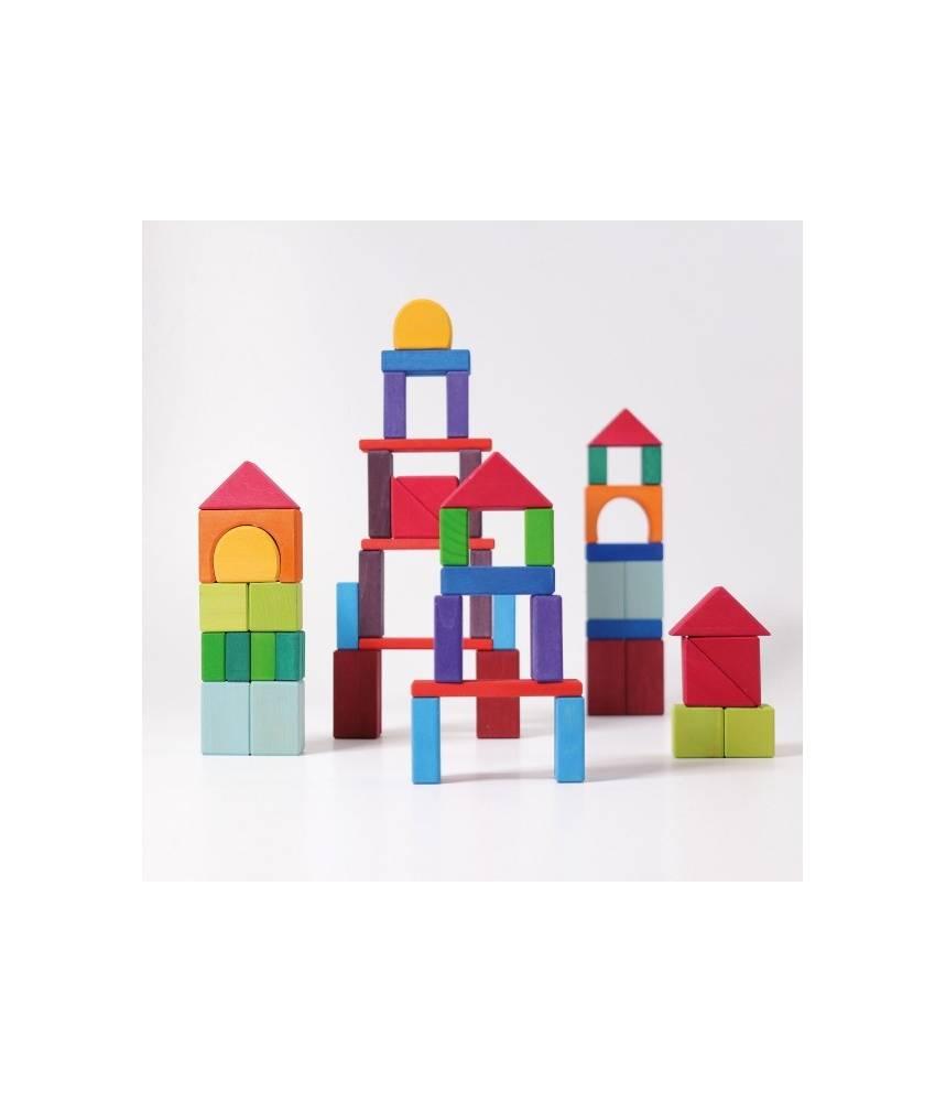 60 géo-blocs colorés arc-en-ciel - Grimm's