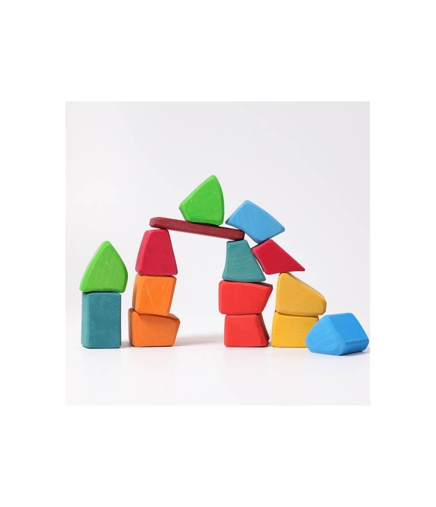 15 blocs de construction Waldorf en bois arc-en-ciel - Grimm's