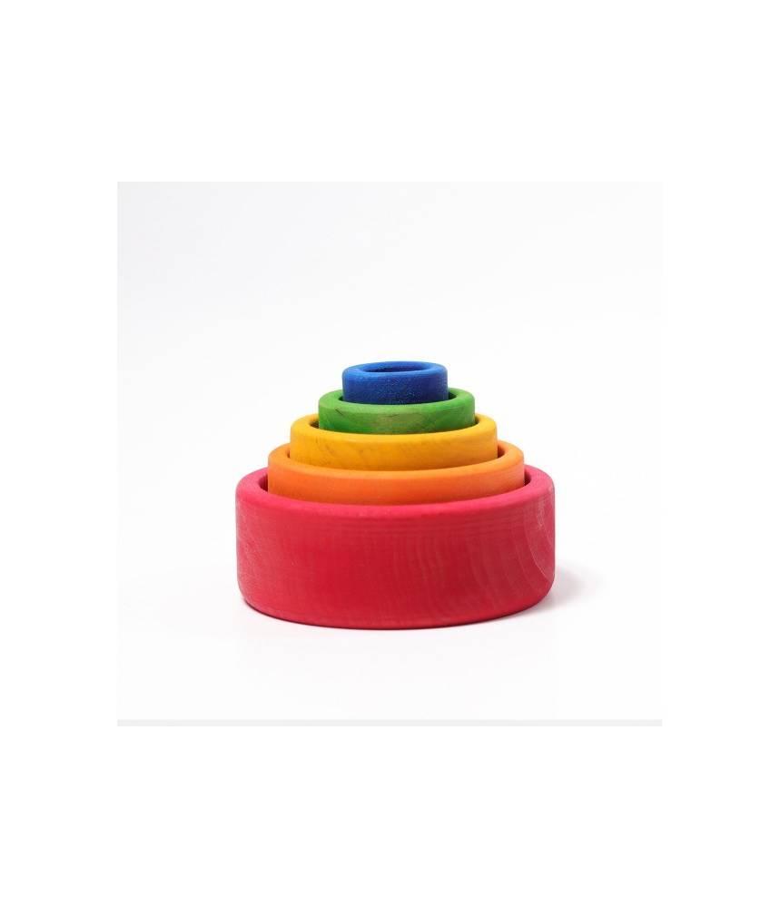 5 bols colorés arc-en-ciel ton rouge - Grimm's