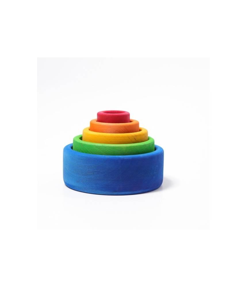 5 bols colorés arc-en-ciel ton bleu - Grimm's