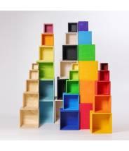 6 cubes en bois arc-en-ciel Pastel grand modèle - Grimm's