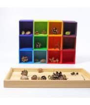 12 cubes en bois arc-en-ciel boite de tri pour perles - Grimm's