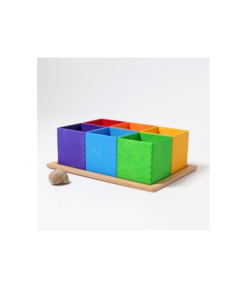 6 cubes en bois arc-en-ciel boite de tri pour perles - Grimm's