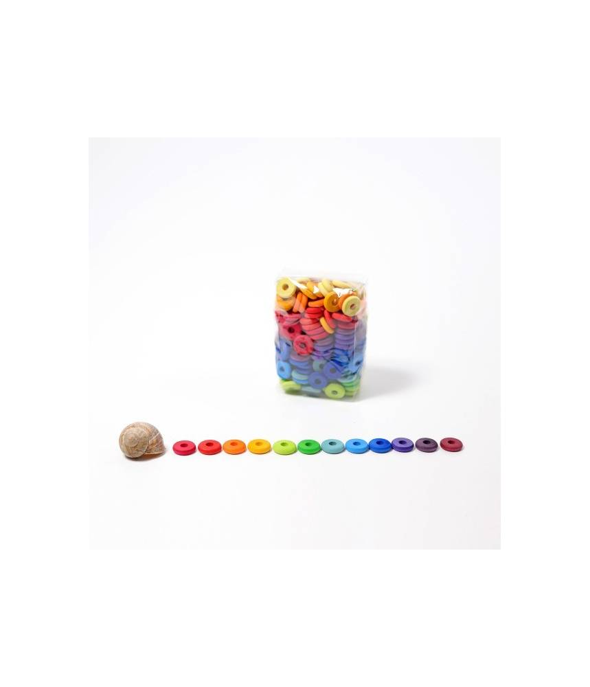 240 petites perles plates en bois arc-en-ciel - Grimm's
