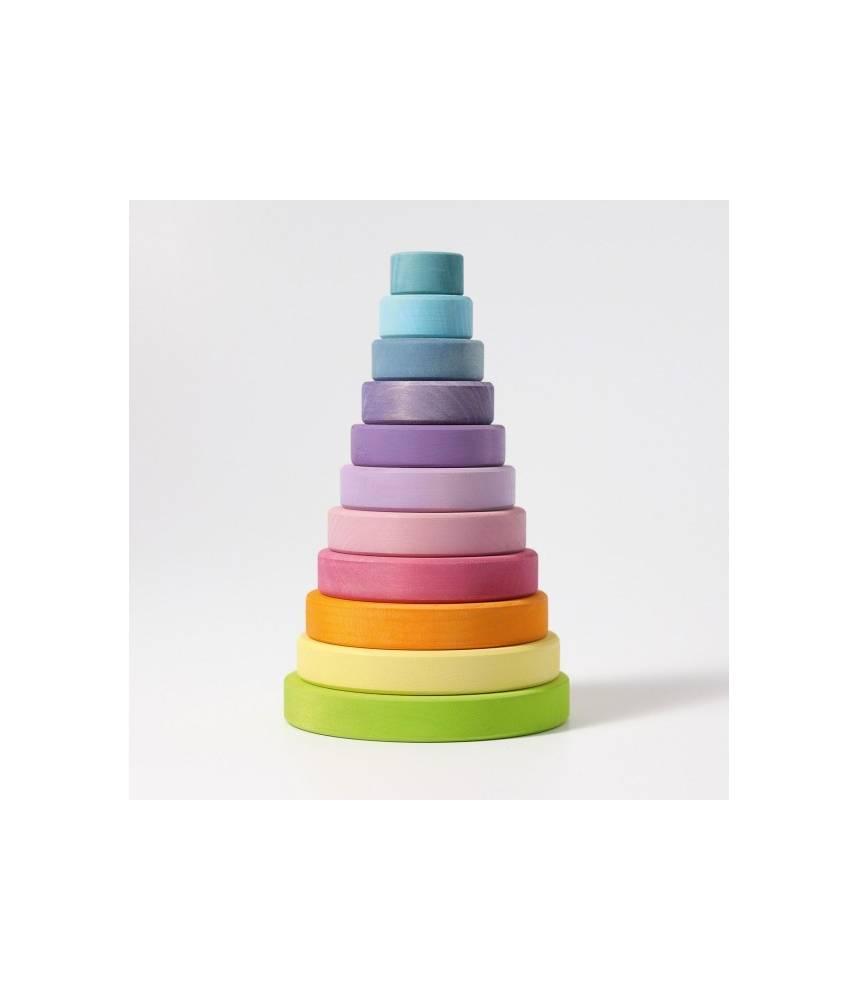 Tour de disques à empiler en bois arc-en-ciel Pastel- Grimm's