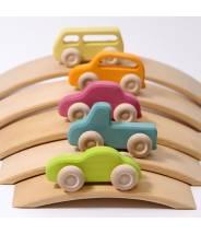 5 véhicules fins en bois colorées - Grimm's